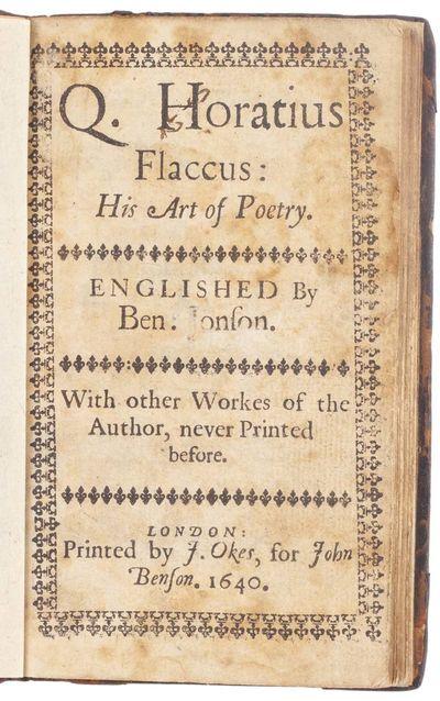 Q. Horatius Flaccus: his Art of Poetry.