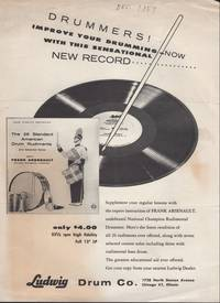 image of Drummers! Improve your Drumming Ad for Arsenault's LP Recording of The 26 Standard American Drum Rudiments [and] THE STANDARD 26 AMERICAN DRUM RUDIMENTS as Adopted by the N.A.R.D.: The Thirteen Essential Rudiments (recto) and the Thirteen Rudiments to Complete (verso).
