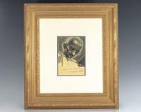 Mohandas K. Gandhi Signed Engraving Portrait.