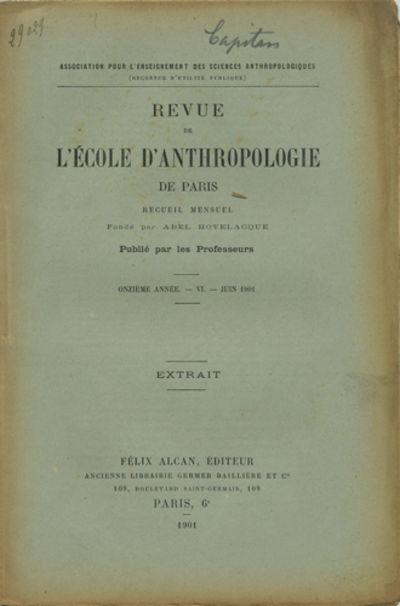 Paris: Félix Alcan, Éditeur, 1901. Offprint. Paper wrappers. A very good copy with darkened edges ...