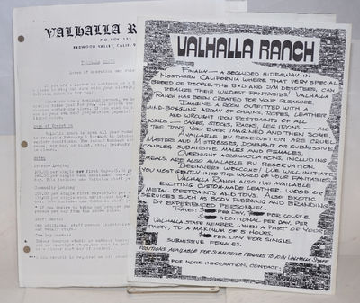 Redwood Valley, CA: Valhalla Ranch, no date. Four sheets. 8.5x11 inches, light wear, three-hole punc...