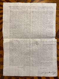 [MEXICAN REVOLUTION: IMPORTANT 1815 BROADSIDE DECLARING AMNESTY TO ALL INSURGENTS]. Don Felix Maria Calleja del Rey, Bruder, Losada, Flores, Campeno, Montero de Espinosa, Teniente General de los Reales Exercitos, Virey, Gobernador y Capitan General de esta N. E., Presidente de su Real Audiencia, etc. etc. [FIRST LINES OF TEXT]: Despues de los repetidos indultos concedidos por este superior gobierno a los que sin la mas leve causa ni apariencia de razon y solo por efecto de su ambicion y desenfreno declararon hace ya cinco anos una guerra cruel y atroz con poco fruto suyo [...]
