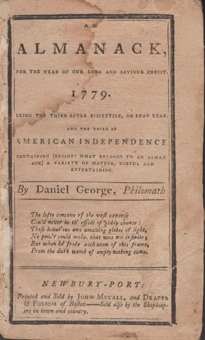 Newbury-Port: Printed and Sold by John Mycall, and Draper & Folsom of Boston, 1778. First Edition. W...