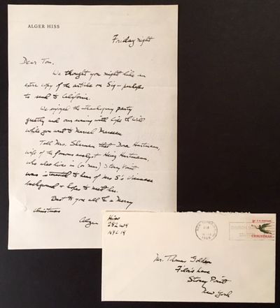 1965. Near Fine. 1965 1 pg. handwritten letter by Alger Hiss to the son of Cipe Pineles, pioneering ...