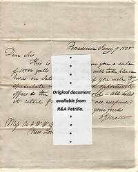 HANDWRITTEN LETTER (ALS), REGARDING A PUBLIC SALE OF WHALE OIL, ADDRESSED TO N & WW BILLINGS AT NEW LONDON, CONNECTICUT, DATELINED PROVIDENCE,  JANUARY 9, 1828