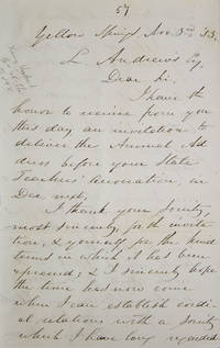 """Autograph letter signed (""""Horace Mann""""), to L. Andrews, accepting the invitation of the Ohio Teachers of Common Schools"""