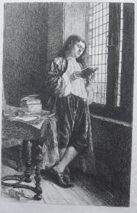 Man in 18th century dress standing reading by window, more books on table, after Meissonier.