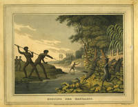 image of Hunting the Kangaroo.   Color aquatint of New South Wales aborigines