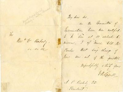 """ALS. 1pg. 5 ½"""" x 7 ¾"""". No date. No place. An autograph letter signed """"J.R. Lowell"""" to Andr..."""