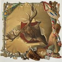 Large embossed paper die-cut of a Moose Head on a stretched skin with embellishments