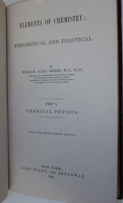 New York: John Wiley, 1864. First American Edition. Cloth. Very Good. First American Edition. xv, 51...