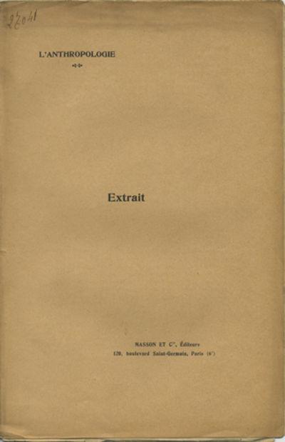 Paris: Masson et Cie, Éditeurs, 1909. Offprint. Paper wrappers. A very good copy.. 6 pp. Illus. wit...