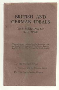 British and German Ideals The Meaning of the War