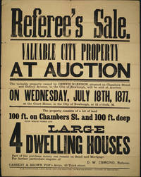 "Newburgh NY Property Auction.  ""Referee's Sale"" Broadside"