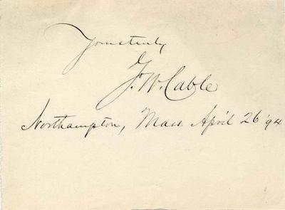 """Signature. April 26, 1894. Northampton, MA. The signature of George Washington Cable """"G. W. Cable...."""