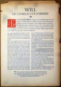 Will of Charles Lounsberry (Broadside)
