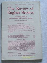 The Review of English Studies: New Series Vol.XVII, No.67, August 1966: a Quarterly Journal of...