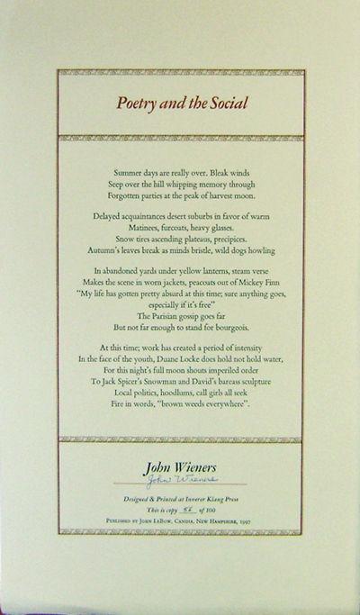 Candia: John LeBow, 1997. First edition. Loose Sheets. Very Good. Single sheet broadside poem. Desig...
