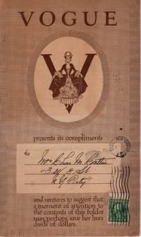 Vogue New York: Fashion Magazine Mailer/Subscription Card 1913
