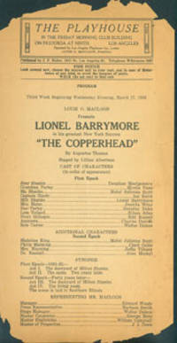"""Lionel Barrymore in his greatest New York Success """"The Copperhead"""" by Augustus Thomas, March 17, 1926"""
