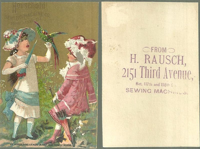VICTORIAN TRADE CARD FOR HOUSEHOLD SEWING MACHINE WITH TWO GIRLS AND A PARROT, Advertisement