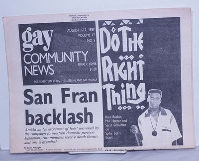 Boston: GCN Collective, 1989. Newspaper. 16p., folded tabloid newspaper on newsprint, news, opinion,...