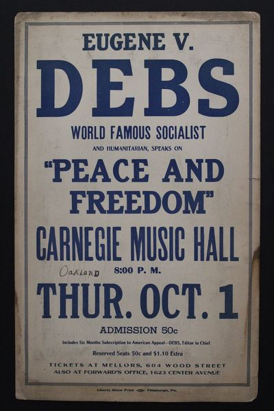 Poster for the October 1, 1925 lecture by Eugene V. Debs (b. 1855-d. 1926) at the Carnegie Music Hal...