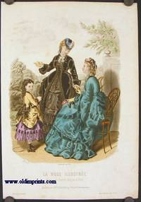 Hand colored engraving from La Mode Illustree.  Toilettes de Mme. Fladry, 27 Faub 9. Poissonniere