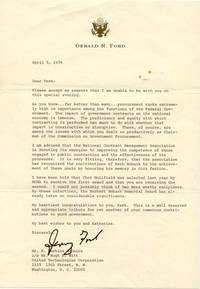 """TLS. 1pg. 7 ¼"""" x 10 ½"""". April 5, 1979. No place. A typed letter signed """"Jerry Ford"""" as for..."""