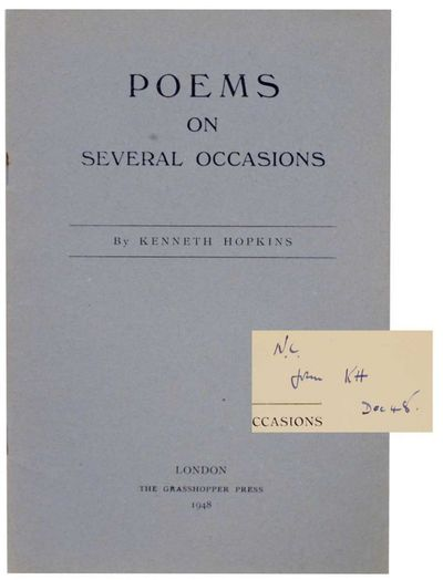 London: The Grasshopper Press, 1948. First edition. Softcover. 16 pages. A near fine copy in stapled...