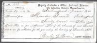 image of An Original 1867 Income Tax Receipt for Alexander Graves Newburyport, Ma  Scribners
