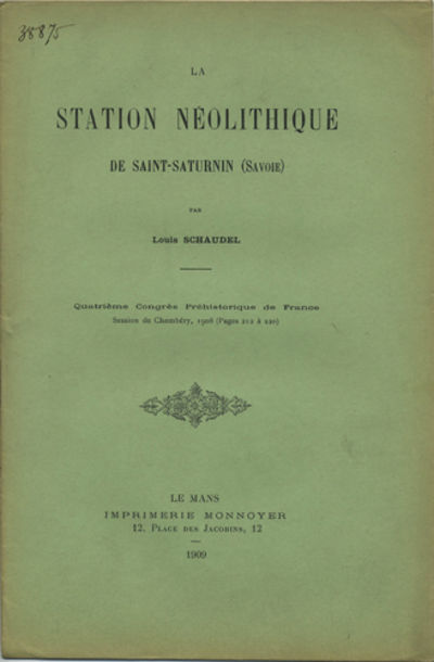 Le Mans, France: Imprimerie Monnoyer, 1909. Offprint. Paper wrappers. A very good copy.. 11 pp. 8vo....