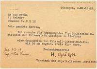 A typed postcard, signed H. Geiger, Tübingen, 24th December 1929.