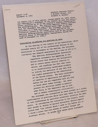 Atlanta: Southern Regional Council, 1961. Two-sheet 8.5x11 inch press release, punch-holed and stapl...