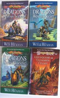 """Dragonlance : Chronicles:  vol (1) one - Dragons of Autumn Twilight;  vol (2) two -  Dragons of Winter Night;  vol (3) three - Dragons of Spring Dawning;  vol (4) four - Dragons of Summer Flame   -complete four book set """"DragonLance: Chronicles"""""""
