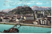 image of Color View of Salzburg River (Salzach?) on ca 1910 Post Card