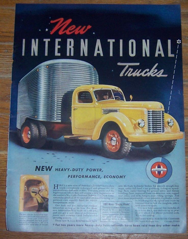 1941 INTERNATIONAL TRUCKS WORLD WAR II LIFE MAGAZINE ADVERTISEMENT, Advertisement