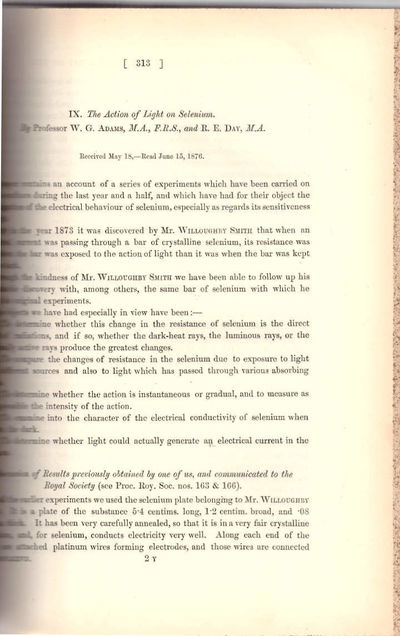 London: Royal Society of London, 1878. First Edition. Hardcover. Very Good. Adams and Day's paper op...