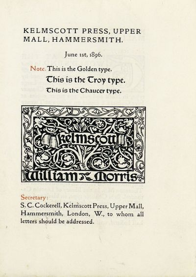 Hammersmith: Kelmscott Press, 1896. Very Good + in Wraps. One of 1500 copies. A four leaf advertisin...