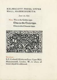 Kelmscott Press, Upper Mall, Hammersmith.  June 1st, 1896 [advertising circular]