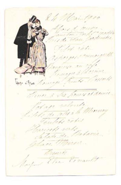 (n.p.), 1900. 1st Printing. White cards stock, color illustration, black lettering, AEG, now housed ...
