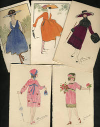 image of Art Deco hand-painted French Fashion postcards