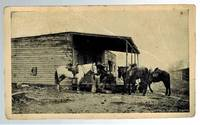 image of (Real Photo postcard)  Cowboys with Horses and Store