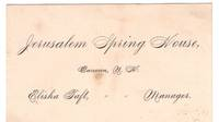 Victorian Business Card: Jerusalem Spring House, Canaan, New Hampshire