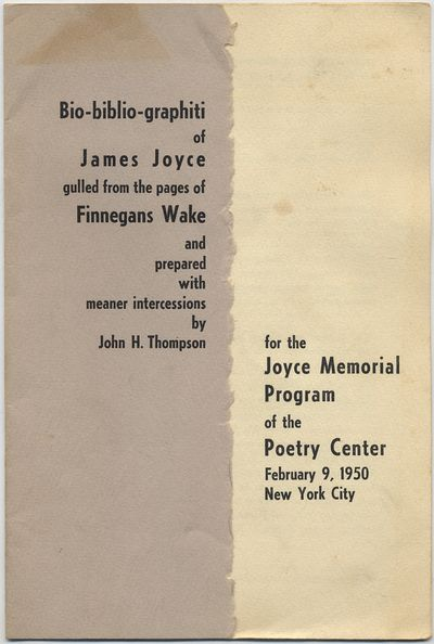 New York: Poetry Center, 1950. Softcover. Very Good. First edition. Octavo. pp. Stapled into printed...