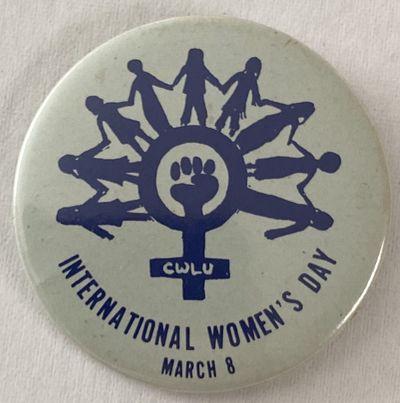 Chicago: Chicago Women's Liberation Union, . 2.25 inch diameter pin, CWLU on Venus symbol at the cen...