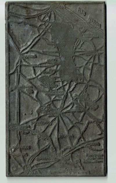 : Am. Press Assn, . Very Good. A printing plate used to print a map inset. 4 3/8 x 7 5/8 inches. Mad...