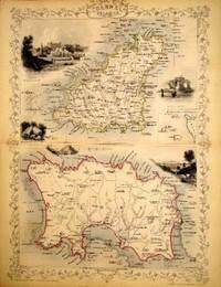 Channel Islands, antique map with vignette views
