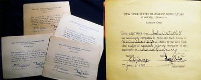 Long Island, New York: Not Published, 1936. 4 certificates for satisfactory completion of home studi...