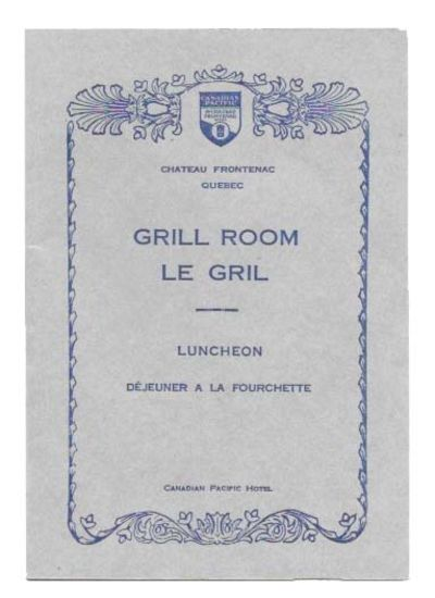 Quebec: Canadian Pacific Hotel, 1930. 1st Printed. Blue card stock, dark blue and black lettering, n...